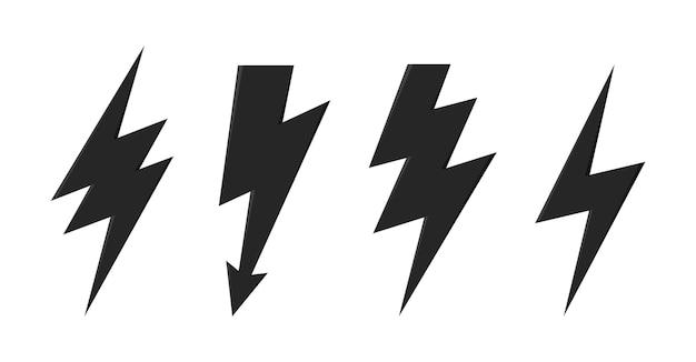 Ícone de vetor de raio de trovão conjunto de ícones de flash de iluminação de raio e trovão