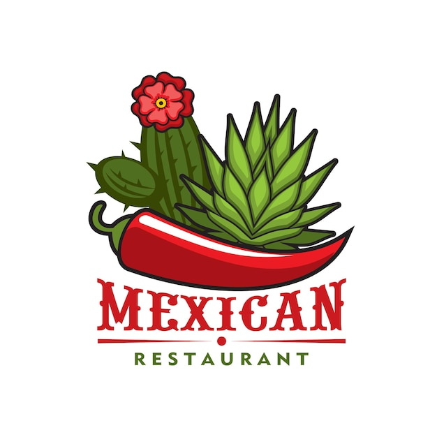 Ícone de vetor de restaurante mexicano do projeto de comida de especiarias de cozinha do méxico. pimenta malagueta vermelha quente isolada e folhas verdes de cacto agave com o emblema da flor ou o símbolo do café mexicano mexicano ou bistrô