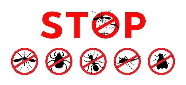 Ícone de vetor de sinal de parada de mosquitos, marca espessa, pulga e mosca