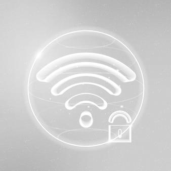 Ícone de vetor de tecnologia de comunicação de segurança de internet branco com cadeado