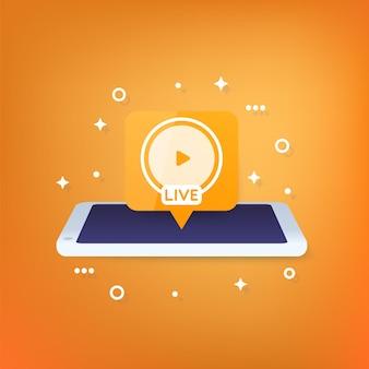 Ícone de vetor de transmissão ao vivo com um telefone