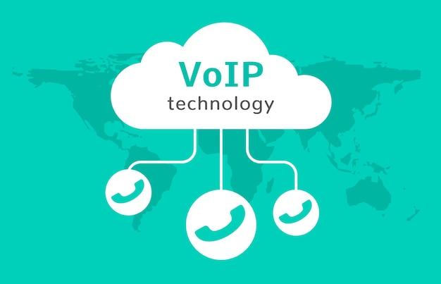Ícone de vetor de voip. conexão do conceito de chamada de internet. voz pela rede, sinal voip.