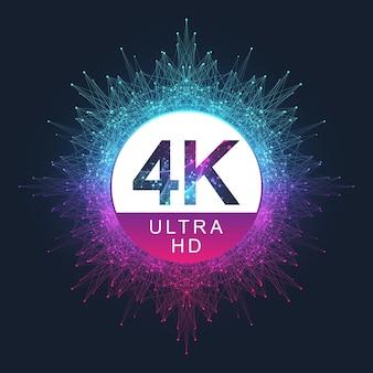 Ícone de vetor distintivo 4k ultra hd. símbolo de tv uhd 4k de estilo de fundo gradiente abstrato