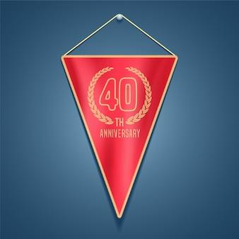 Ícone de vetor do aniversário de 40 anos. elemento de design gráfico para decoração de cartão de 40 anos
