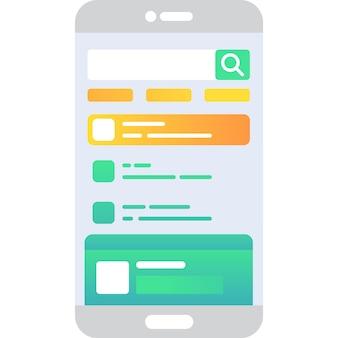 Ícone de vetor do aplicativo de bate-papo do telefone móvel em branco