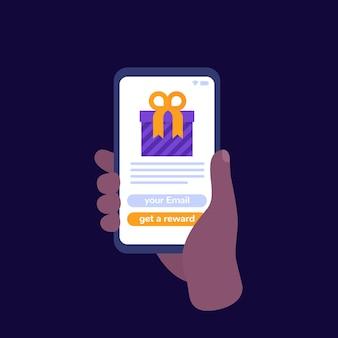 Ícone de vetor do aplicativo móvel de recompensas, telefone na mão