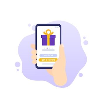 Ícone de vetor do aplicativo móvel do rewards Vetor Premium