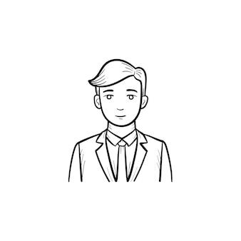 Ícone de vetor do esboço desenhado mão do ceo da web mobile empresa. funcionário de empresa web esboçar ilustração para impressão, web, mobile e infográficos isolados no fundo branco.
