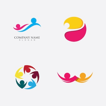 Ícone de vetor do modelo de logotipo de adoção e cuidado comunitário