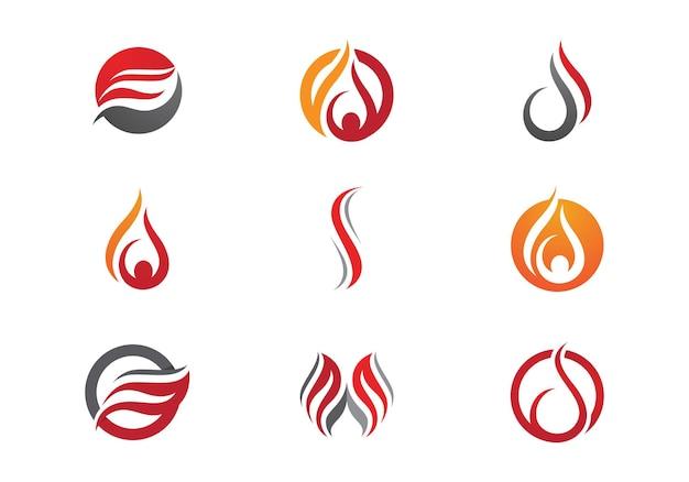 Ícone de vetor do modelo de logotipo de chama de fogo conceito de logotipo de óleo, gás e energia