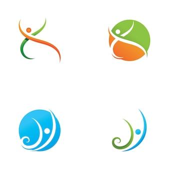 Ícone de vetor do modelo de logotipo de vida saudável de pessoas