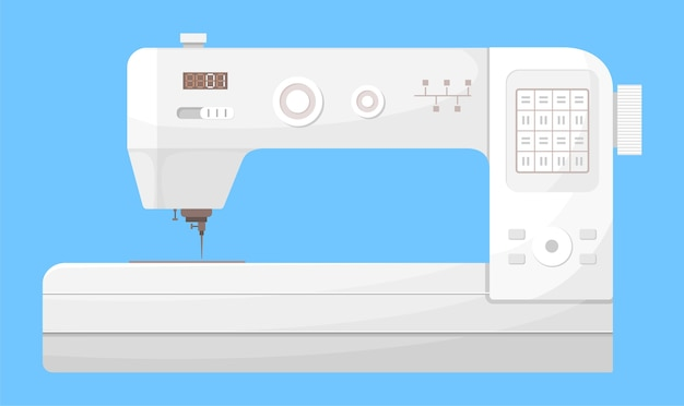 Ícone de vetor isolado da máquina de costura branca em fundo azul.