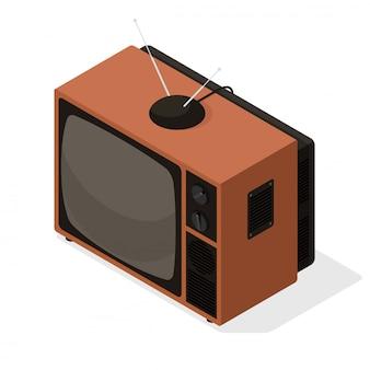 Ícone de vetor isométrico de televisor retrô com antena na parte superior. ilustração de tv 3d isométrica de estilo antigo isolada