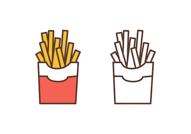 Ícone de vetor linear de batatas fritas. deliciosos palitos de batata frita delinear a ilustração. elemento de design do logotipo de restaurante de fast-food. petisco tradicional americano. alimentos com alto teor calórico, nutrição pouco saudável.