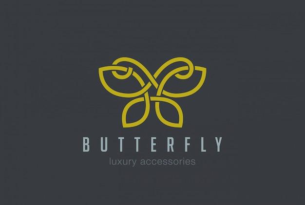 Ícone de vetor linear de logotipo de jóias borboleta
