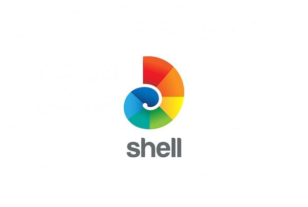 Ícone de vetor logotipo colorido shell.