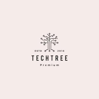 Ícone de vetor logotipo digital circuito elétrico de árvore de tecnologia