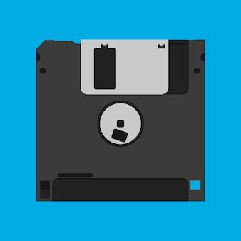 Ícone de vetor obsoleto do dispositivo de backup preto vintage de disquete disquete