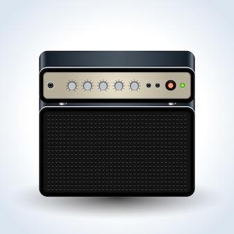 Ícone de vetor realista de amplificador de guitarra em branco