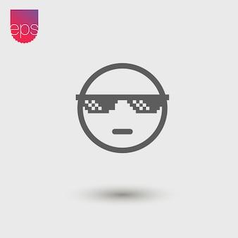 Ícone de vetor simples cara legal. emblema do vetor. vector pictograma clipart