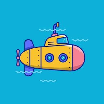 Ícone de vetor submarino em estilo cartoon