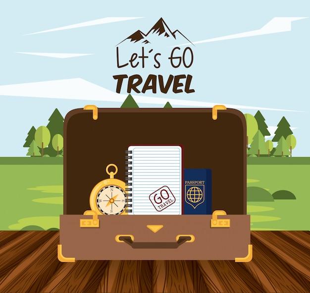 Ícone de viagem e turismo de viagem
