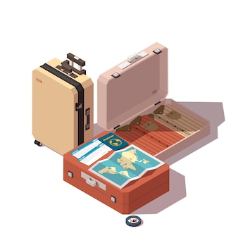 Ícone de viagens ou turismo: passaporte, passagens, bagagem de passageiros, mapa e bússola