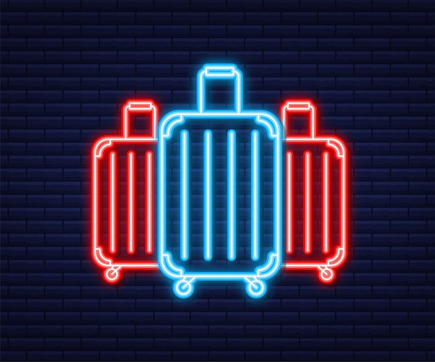 Ícone de viagens para web design. ícone de malas. estilo neon. ilustração vetorial.