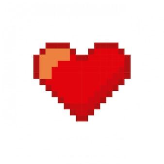 Ícone de video game coração pixelizada