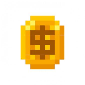 Ícone de video game moeda pixelizada