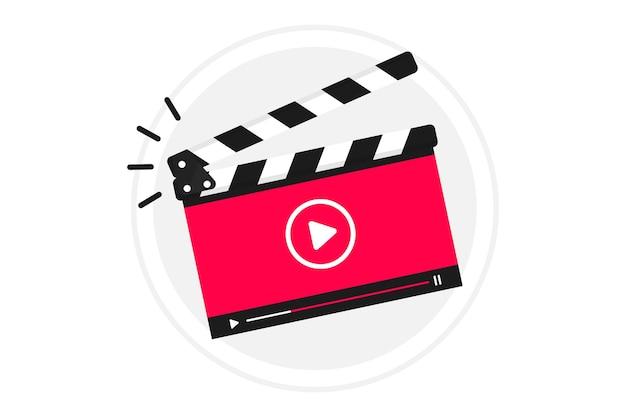 Ícone de vídeo tutorial, emblema, etiqueta, botão. claquete com reprodutor de vídeo online em execução. projeto de filme ou cinema online de reprodutor de vídeo em claquete. editor de vídeo ou produção de filmes. cinema online