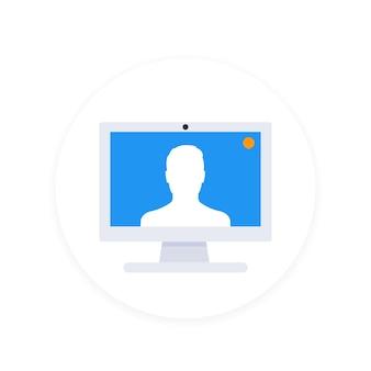 Ícone de videochamada, estilo simples