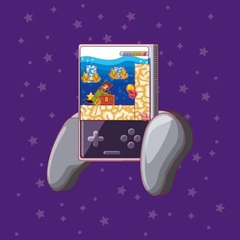 Ícone de videogame portátil sobre fundo roxo