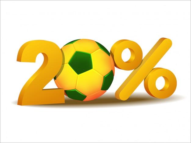 Ícone de vinte por cento de desconto com bola de futebol do brasil