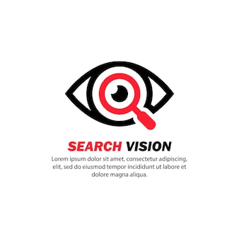 Ícone de visão de pesquisa. olhos com caspa. vetor em fundo branco isolado. eps 10.