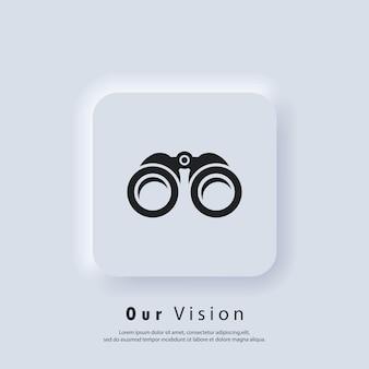 Ícone de visão geral. nossa visão e logotipo da missão. ícone binocular. ícones de zoom. conceito de objetivo de negócios. vetor. ícone da interface do usuário. botão da web da interface de usuário branco neumorphic ui ux. neumorfismo