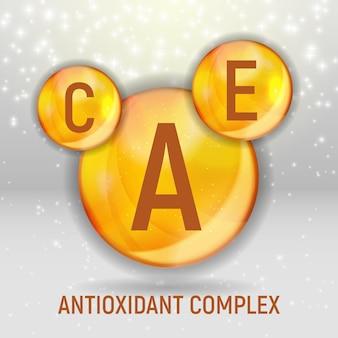 Ícone de vitamina a, c, e. complexo antioxidante. ilustração vetorial