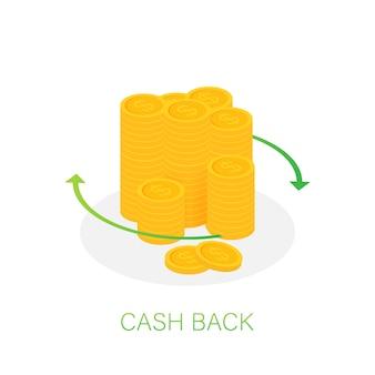 Ícone de volta em dinheiro isolado no branco