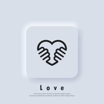 Ícone de voluntariado. caridade ou ícone de dar amor. mão do logotipo de amor. vetor. ícone da interface do usuário. botão da web da interface de usuário branco neumorphic ui ux.