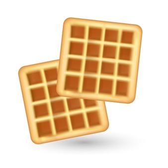 Ícone de waffle realista, sobre fundo branco. estilo de waffles. café da manhã, conceito de cozimento. ilustração.