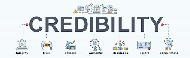 Ícone de web de bandeira de credibilidade para negócios e financeira
