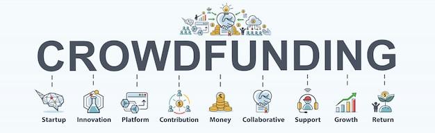 Ícone de web de bandeira de crowdfunding para negócios e inicialização.