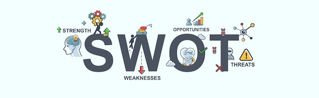 Ícone de web de bandeira swot para negócios e marketing.