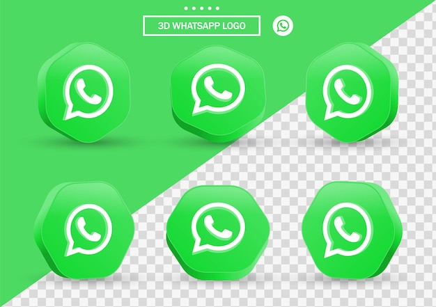 Ícone de whatsapp 3d em moldura de estilo moderno e polígono para logotipos de ícones de mídia social
