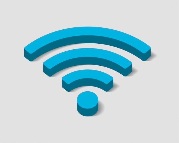 Ícone de wi fi gratuito, símbolo de wifi da zona de conexão, sinal de ondas de rádio.