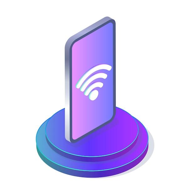 Ícone de wifi na tela do telefone modelo de distribuição da internet para um site vetor isométrico