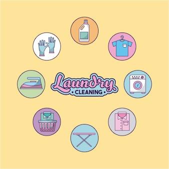 Ícone definido lavanderia limpeza delicado