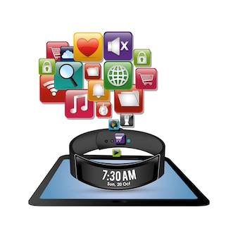 Ícone digital de inovação de tablet de pulseira inteligente