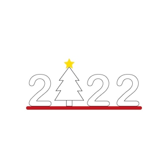 Ícone do ano novo 2022 com uma árvore de natal gráficos vetoriais
