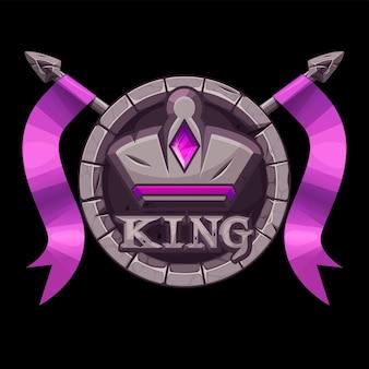 Ícone do aplicativo king de pedra gui, coroa de pedra redonda com lanças para ilustração de jogos de interface do usuário